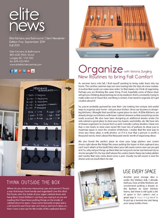 Elite Kitchens and Bathrooms Fall 2014 Newlsetter